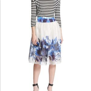 Milly Silk Floral Skirt - Blue